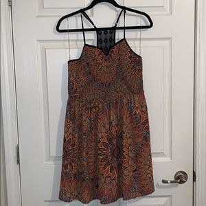Sunburst colorful print dress